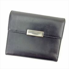 Prada Wallet Purse Bifold Black Silver Woman unisex Authentic Used T5734