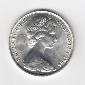 1966 (aUNC) AUSTRALIA ROUND FIFTY 50 CENT COINS (80% SILVER) - BRILLIANT COINS