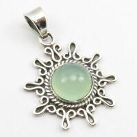 "925 Sterling Silver Aqua Chalcedony Pendant 1.7"" 4.0 Grams Women Fashion Jewelry"