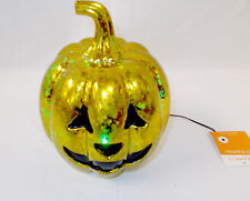 "LED Light Up Pumpkin Gold Metallic Sponge Painted Speckled 8"" NWT"