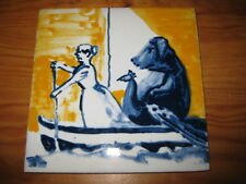 PORTUGAL PORTUGUESE PAULA REGO 1990s WOMAN & DOG CERAMIC TILE CARREAU FLIESE