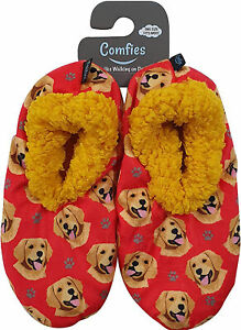 Comfies Womens Golden Retriever Dog Slippers - Sherpa Lined Animal Print Booties