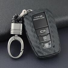 Carbon Fiber Look Key Fob Cover Case Holder Fit for Toyota Camry CHR Avalon RAV4