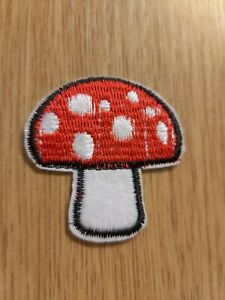 2 Mushroom Embroidery patches applique motif 51mm iron on H28 sewing