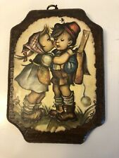 HUMMEL~Decoupage style Wooden Plaque Print 5 x 7 Boy and Girl VTG Hanging Art