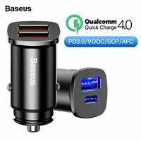 Baseus Metal 30W Dual USB C PD Quick Charge QC 4.0 Car Charger For Mobile Phone
