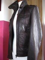 Ladies NEXT brown real leather JACKET COAT UK 18 16 biker bomber western trucker