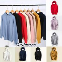Womens Hooded Sweater Knitted Cashmere Pullover Hoodie Long Sleeve Jumper