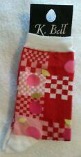 K Bell Novelty Crew Socks Pink Red Sweet Cherries, Red Checker, 9-11, Made USA