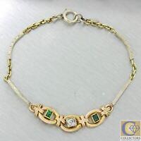 1920s Antique Art Deco Estate 14k Gold Diamond Emerald Etched Bracelet