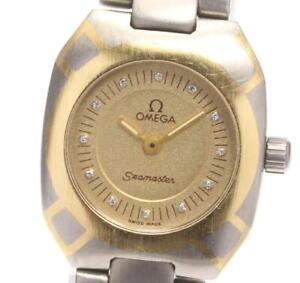 OMEGA Seamaster Polaris 12P titanium Gold Dial Quartz Ladies Watch_590583