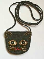 VINTAGE ALL BEADED KITTY CAT FACE WISKERS BRAIDED STRAP CROSSBODY SMALL PURSE