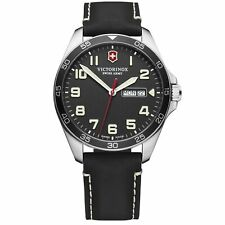 Victorinox Swiss Ejército fieldforce Dial Negro Correa de Cuero Negro Reloj para hombres 241846