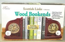 FANTA FURNITURE SCOTTISH LINKS COLLECTION GOLFERS WOOD BOOKENDS CAST MEDALLION