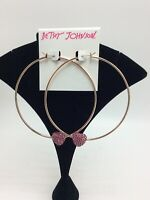"$35 Betsey Johnson  Rose Gold-Tone Bright Pave Heart Large Hoop 3"" Earrings #605"