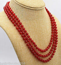 3 Rows 6mm Natural Red Jade Gemstone Round Beads Necklace 18''-20''