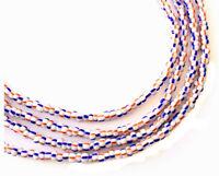 VIntage Ghana Orange blue stripes waist seed Beads Glass African Trade Beads