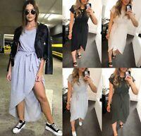 Women's Ladies Short Sleeve Tie Up Belted Midi Wrap Summer T-Shirt Maxi Dress