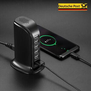 USB Mehrfachstecker 6 Fach Mehrfach Anschluss Schnell Ladegerät Netzteil Adapter