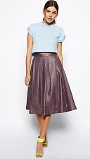 $300 ASOS Premium Leather Full Midi Pleated Purple Burgundy Skirt US 4 UK 8