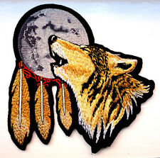 P1 Lone Wolf Native American Biker Iron on Patch Feathers Cowboy Motorcycle