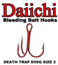 Daiichi Replacement Treble Hooks D99Q Light Wire Death Trap Bleeding Red Size 2