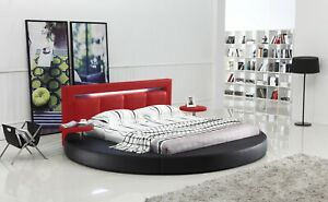Oslo Queen Round Bed With Headboard Light (Black & Red)