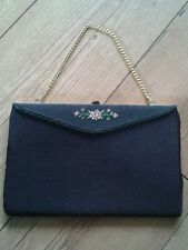Vintage evening bag, black, gold chain, embroidered flower detail