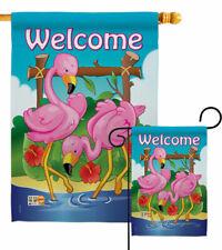 Flamingos Garden Flag Tropical Coastal Decorative Small Gift Yard House Banner