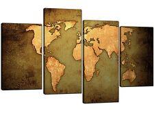 Mapa del mundo de lona en verde - 4 Panel atlas de estilo antiguo