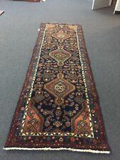 Genuine Hand Knotted Vintage Hamedan Geometric Runner Rug Carpet 3'x9'10�,#2398