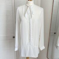 F&F Tie Neck Blouse Size 16 White Long Sleeve Smart Shirt Floaty Sheer Chic Boho