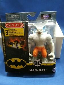 """DC MANBAT 4 """" Gray Action Figure Orange Pants 3 Accessories Only At Target New"""