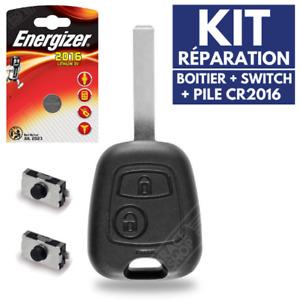 Coque de Télécommande 2 Boutons Plip pour Clé Citroen C1 C2 C3 C4  ✚ Pile CR2016
