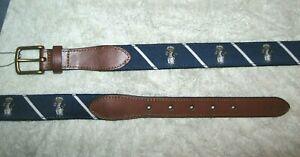 Men's $75. (38) POLO-RALPH LAUREN Blue Stripe YACHT/ SKIPPER BEAR Belt (Leather)