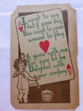 Vintage Valentine's Day Postcard Posted 1910 Cupid Ace Card Humor Paper Crafts
