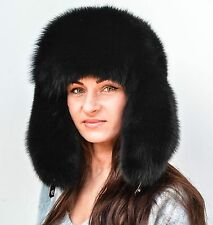 Saga Furs Jet Black Fox Fur Men Women Unisex Russian Ushanka Trapper Hat Warm!
