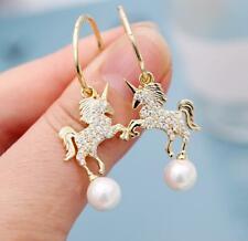 Fashion Jewelry Betsey Johnson Gold Alloy Rhinestone Pearl Unicorn Drop earrings