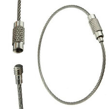5 pcs 150mm EDC Wire Rope Key Ring Stainless Steel Wire Chain pendant Loop f6
