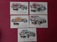 First Day of Issue Stamps CARS August 25, 1988 set of 5 postcards