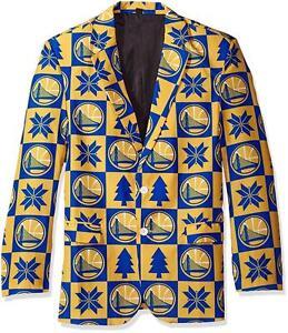 Golden State Warriors Super Fan Sport Coat Jacket Size 42 S Ugly Christmas   S12