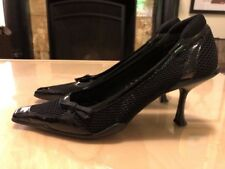 Prada Mesh And Leather Medium Heel Pointy Shoes Size 40 Authentic