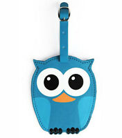 New LUGGAGE TAG Travel Bag ID Pouch Cover Case OWL BIRD Vegan Leather BLUE
