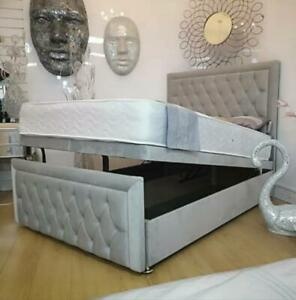Divan Ottoman Storage Bed Upholstered Fabric Gas Lift Up Bed Base