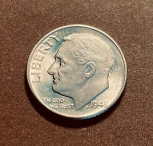 1948 D ROOSEVELT DIME - CHOICE BU - BRILLIANT UNCIRCULATED - FULL TORCH - FT