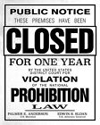 "REPLICA ""CLOSED"" SIGN FOR VIOLATING PROHIBITION (REPRINT) - 8X10 PHOTO (SP423)"