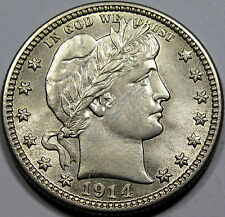1914-D Barber Quarter Dollar Choice BU MS+++ Flashy and Very NICE! Pretty Coin!!