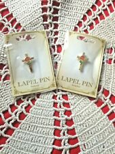 """RED  ROSE CROSS "" LAPEL PINS (two pins) STUNNING, NEW in pkgs."