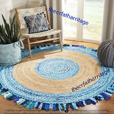 Multi Colour Indian Handmade Braided Rug Round Rug 9 Feet Home Decor Floor Rugs