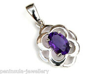 9ct White Gold Amethyst Celtic Pendant no chain Made in UK Gift Boxed